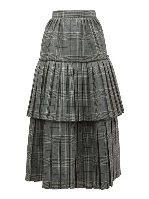 Gucci prince of wales check pleated tiered wool skirt