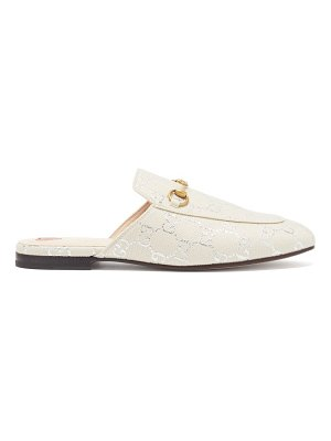 Gucci princetown logo-jacquard canvas backless loafers