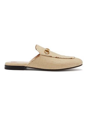 Gucci princetown raffia & leather backless loafers