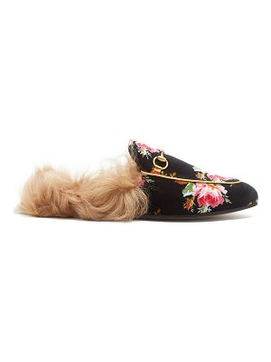 Gucci Princetown shearling-lined rose-print loafers