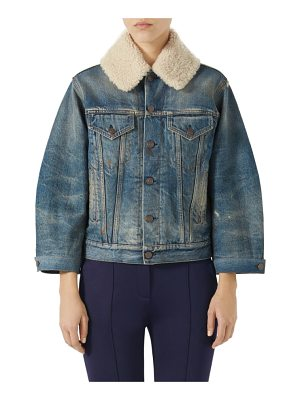 Gucci print back denim jacket with genuine shearling trim