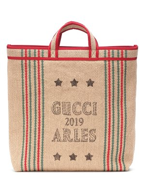 Gucci printed jute and linen tote