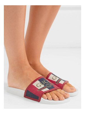 Gucci leather-trimmed logo-print canvas slides