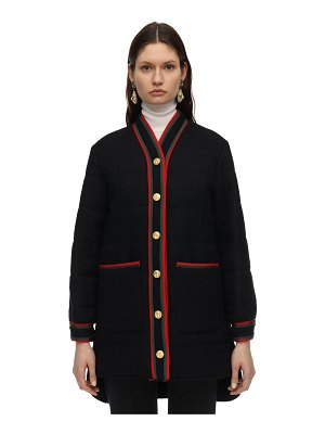 Gucci Quilted wool tweed coat w/ web trim
