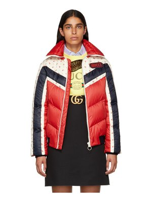 Gucci red floral stripe down jacket
