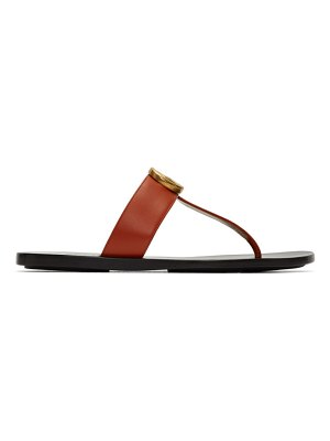 Gucci red leather double g sandals