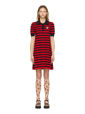 Gucci red & navy striped cat patch polo dress