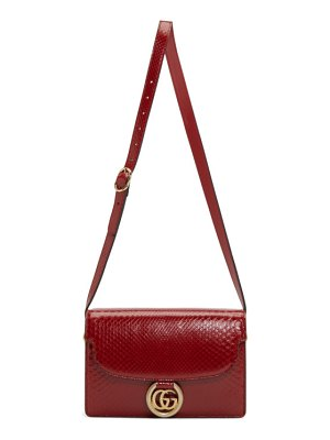 Gucci red small snake gg ring bag