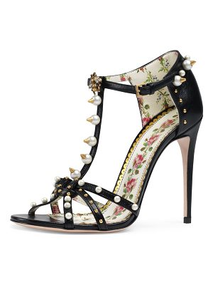 Gucci Studded Leather T-Strap Sandals