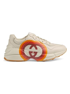 Gucci rhyton  heart leather sneakers