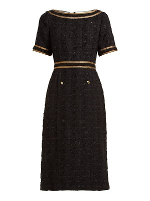 Gucci ribbon trimmed embroidered tweed dress