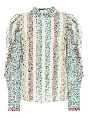 Gucci Ruffled floral cotton blouse