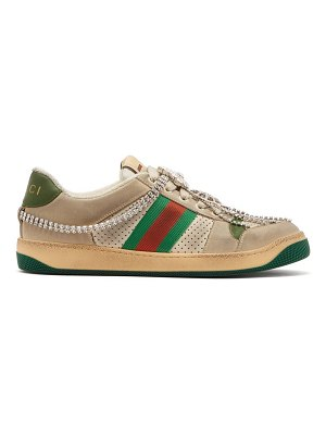 Gucci screener crystal-embellished low-top trainers
