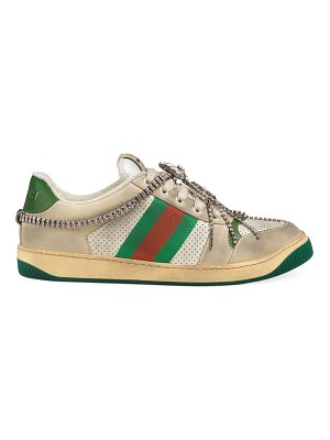 Gucci screener jeweled leather sneakers