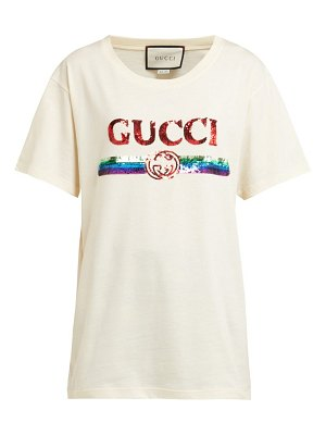 Gucci sequin-embellished logo cotton t-shirt