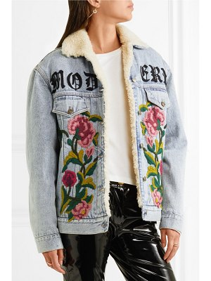 Gucci shearling-lined embroidered denim and jacquard jacket