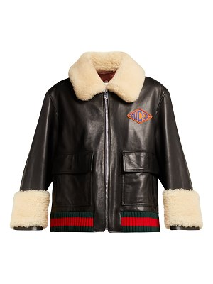 Gucci Shearling Trimmed Leather Jacket