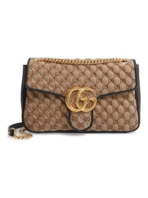 Gucci small marmont 2.0 quilted original gg canvas shoulder bag
