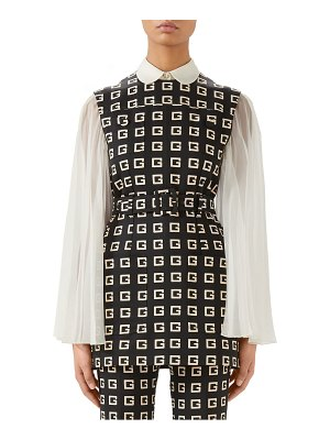 Gucci square-g logo print belted faille tunic