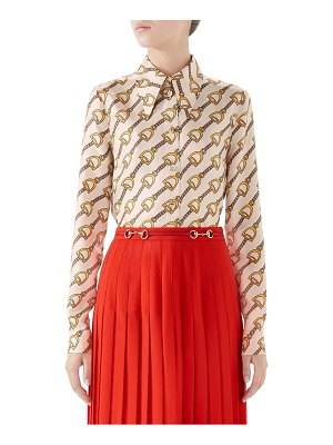 Gucci stirrups print silk twill blouse