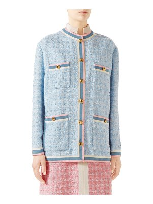Gucci Stripe-Trim Button-Front Tweed Jacket