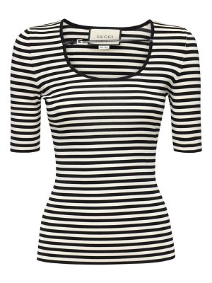 Gucci Striped viscose knit top