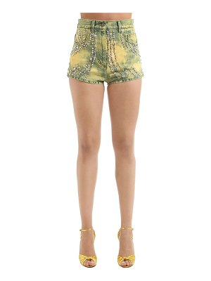Gucci Studded marble washed denim shorts