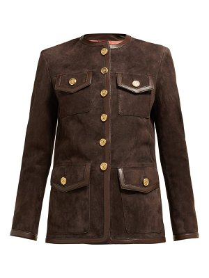 Gucci suede collarless jacket