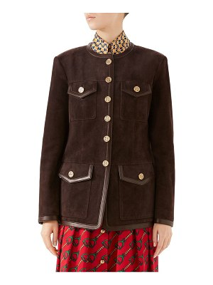 Gucci suede hunting jacket with buttons