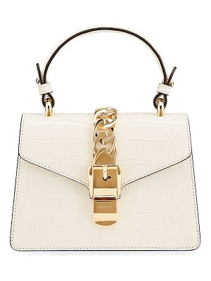 Gucci Sylvie Mini Alligator Top-Handle Bag