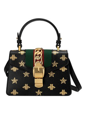 Gucci Sylvie Small Bee-Print Leather Top-Handle Satchel Bag