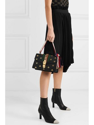 Gucci sylvie small chain-embellished printed textured-leather shoulder bag