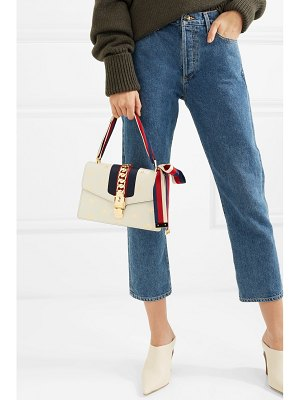 Gucci sylvie small chain-embellished printed textured-leather tote