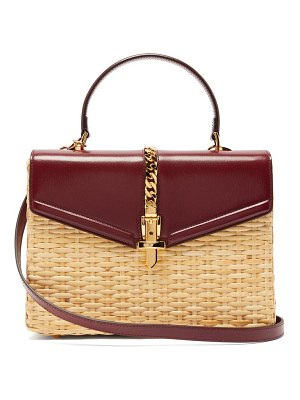 Gucci sylvie wicker and leather top handle bag