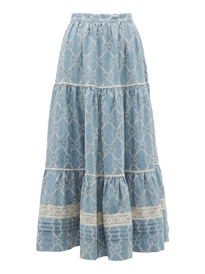Gucci tiered gg broderie anglaise cotton skirt