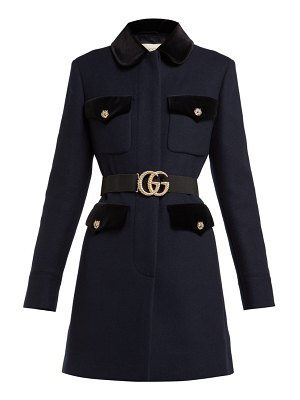 Gucci velvet trimmed single breasted wool coat