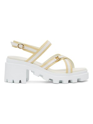 Gucci white & yellow lug sole heeled sandals