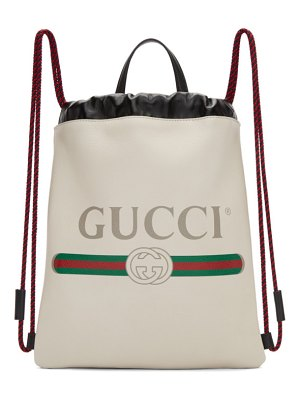 Gucci white small logo drawstring backpack