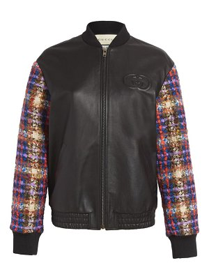 Gucci wool blend tweed & leather bomber jacket