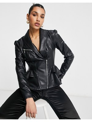 GUESS faux leather western jacket in black