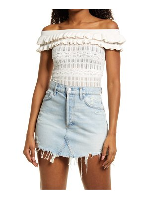 GUESS nola off the shoulder pointelle sweater