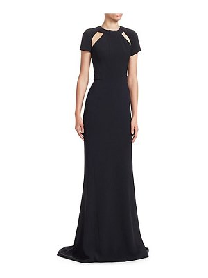 Gustavo Cadile cap sleeve shoulder cut out a-line gown