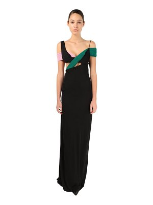 Haider Ackermann Crepe long dress w/color pleated details