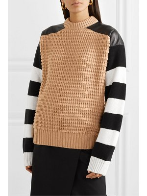 Haider Ackermann leather-paneled striped fleece wool and cashmere-blend sweater