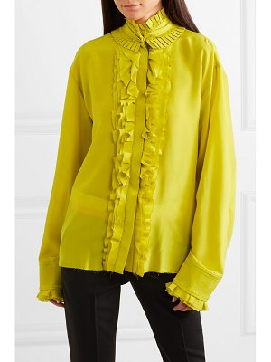 Haider Ackermann pleated ruffled silk crepe de chine blouse