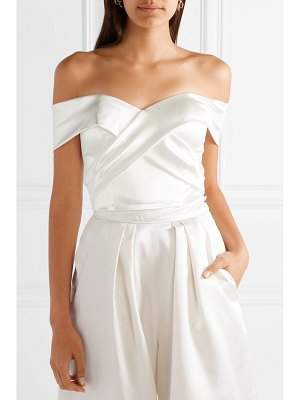 Halfpenny London kelly off-the-shoulder stretch-duchesse satin bustier top
