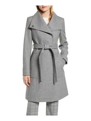 Halogen halogen belted wool blend coat
