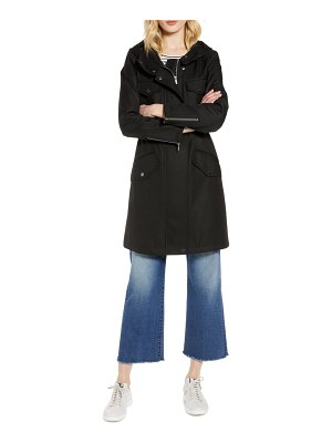 Halogen halogen cinch waist hooded raincoat