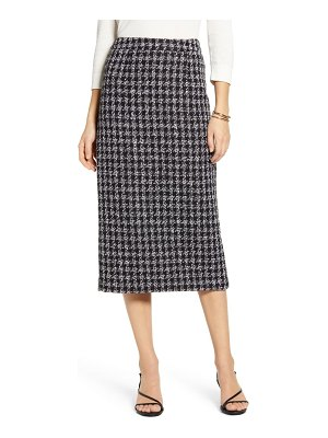 Halogen halogen houndstooth check tweed pencil skirt