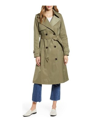 Halogen halogen long double breasted hooded trench coat